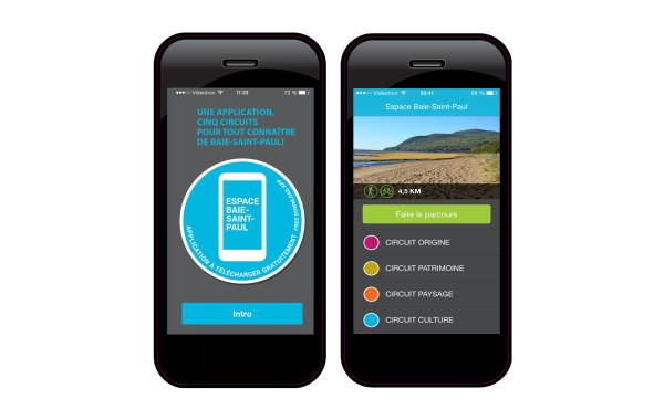 Application mobile d'attraits géo localisés. Espace-Baie-Saint-Paul