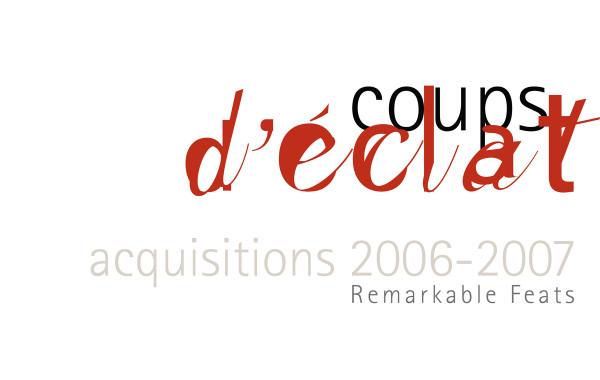 Signature graphique : Coups d'éclats. Acquisitions 2006-2007