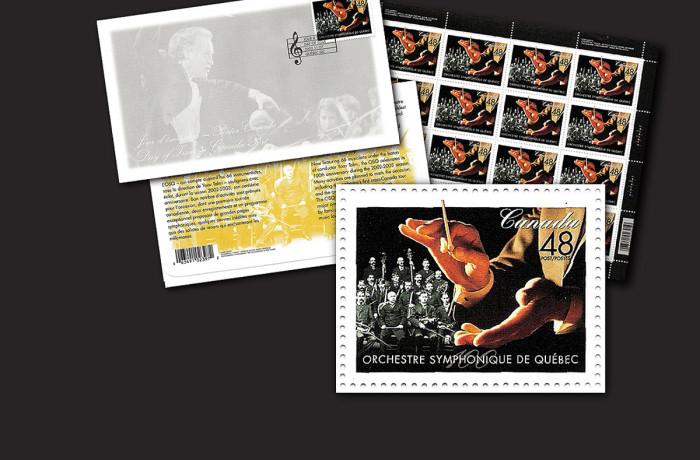 Timbre célébrant le 100e anniversaire de l'Orchestre symphonique de Québec