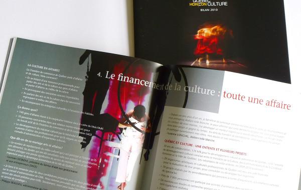 Brochures Bilan Horizon Culture. Ministère de la culture et des communications et la ville de Québec